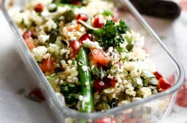 Quinoa salad with feta, broccoli and pomegranate
