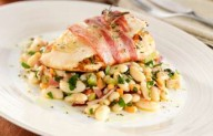 Pancetta wrapped chicken with cannellini bean salad