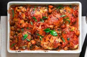 Tomato baked chicken with basil, mushrooms and baby potatoes