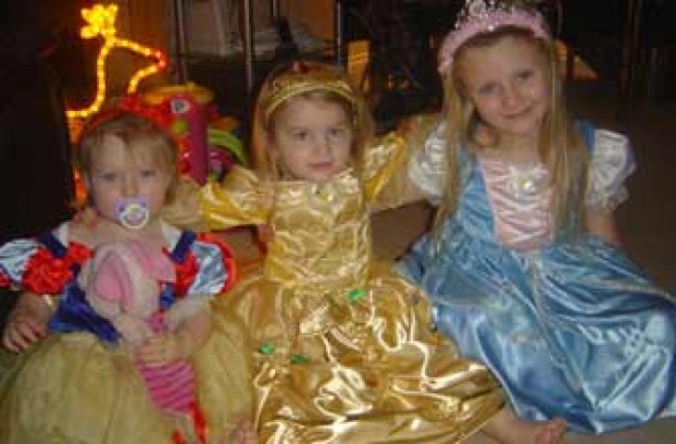 Ruby, Violet and Charlotte in their princess outfits