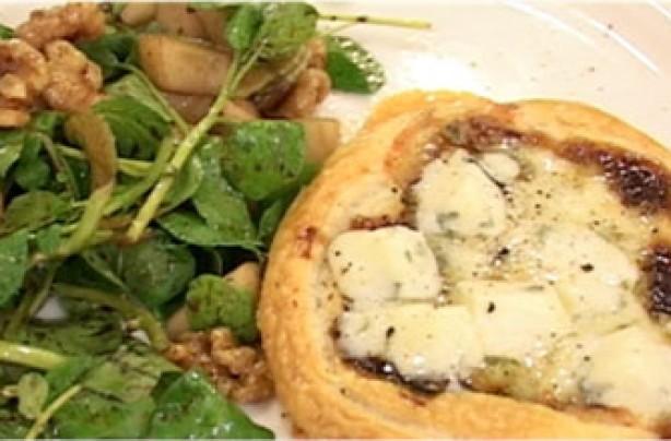 Video recipe: Jo Pratt's sweet onion & dolcelatte tarts with pear and walnut salad