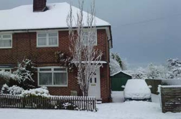 Ray's house in the snow