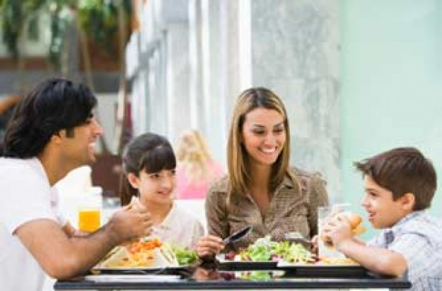 Family eating in a restaurant