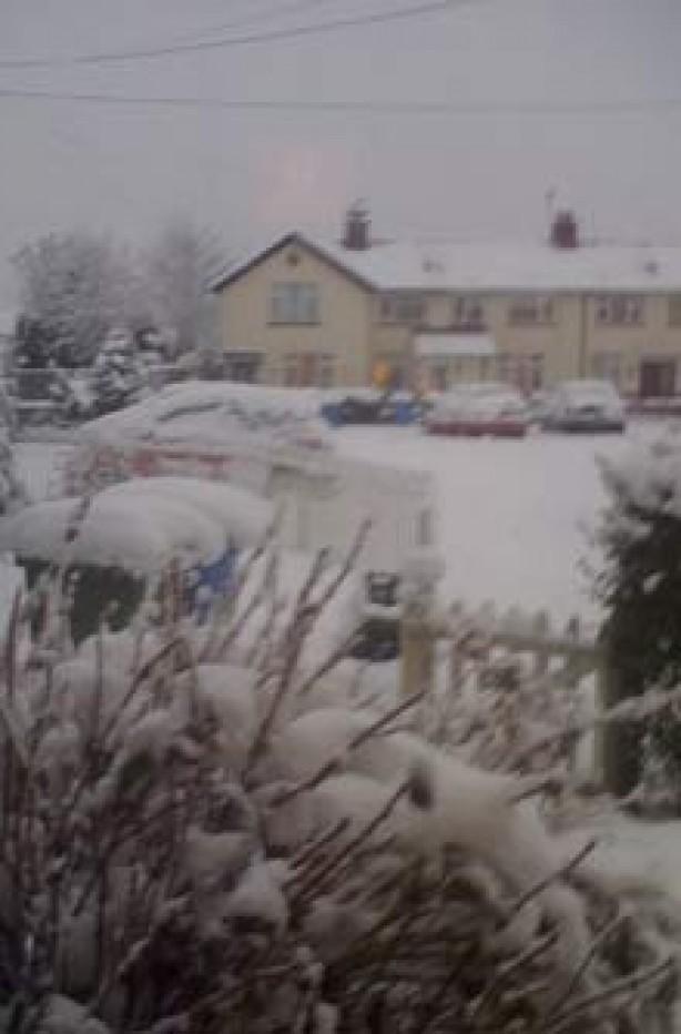 a snowy street sent in by Julie