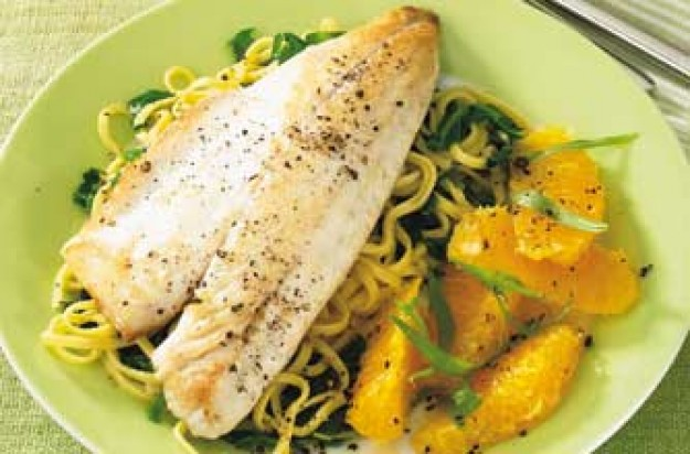 Sea bass with orange and tarragon salad