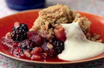 Hairy Bikers' apple and blackberry crumble from Mums Know Best