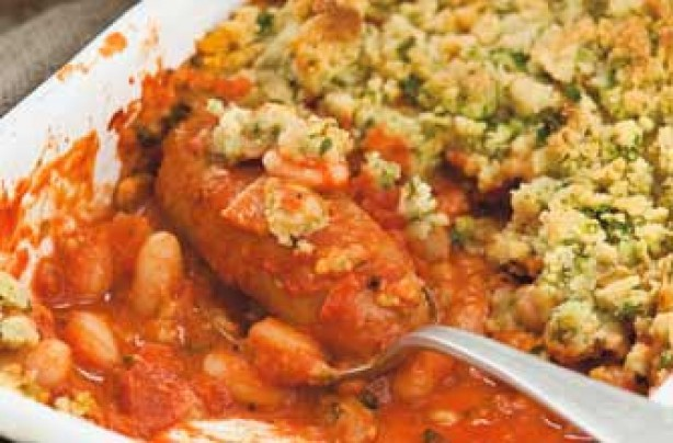 Sausage and bean crumble