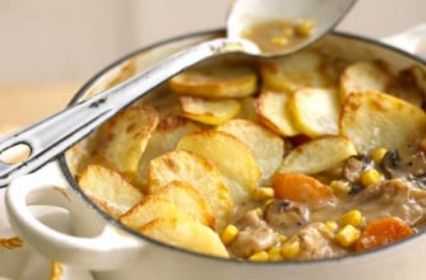 Chicken and sweetcorn hotpot