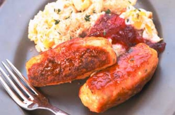 Chicken and bacon sausages