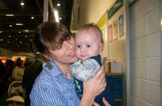 Mum Inga with son Vejas at the baby show