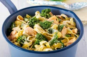Broccoli and salmon tagliatelle recipe