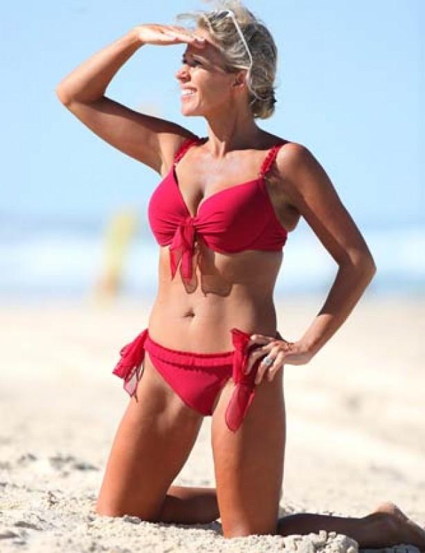Lucy Benjamin in a bikini