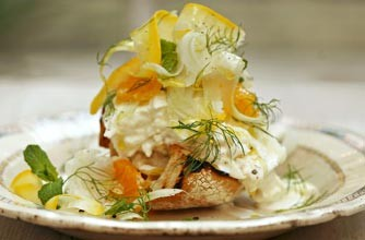 Sophie Dahl's Buffalo mozzarella bruschetta recipe from The Delicious Miss Dahl