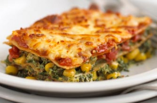 Spinach and corn lasagne