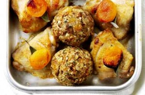 Chicken with oat, sage and apricot stuffing