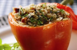 Baked peppers with oat stuffing recipe