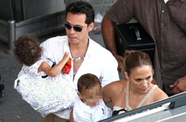 Jennifer Lopez and Marc Anthony with twins Max and Emme