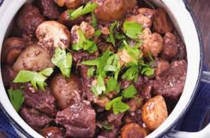 Meat and mushroom stew with potatoes and carrots