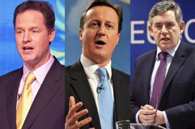 Nick Clegg, David Cameron and Gordon Brown