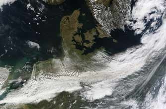 A satellite image of the volcanic ash plume