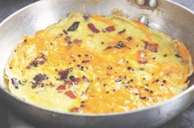 Sophie Dahl's omelette with caramelized red onion and Red Leicester recipe