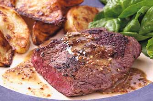 Beef steak with mustard sauce