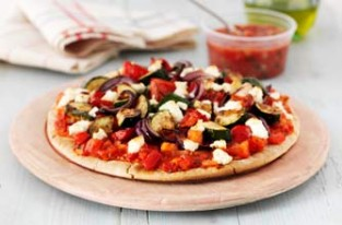 Vegetable and goat?s cheese pizza