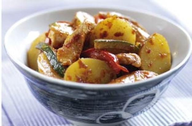 Chicken and potato stir fry