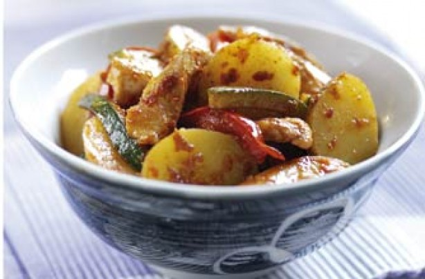 Chicken and potato stir fry