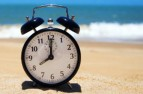 Clock on a beach