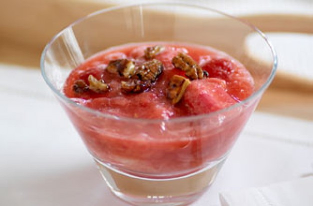 Harry Eastwoods's honey, rhubarb and raspberry compote with pecans recipe