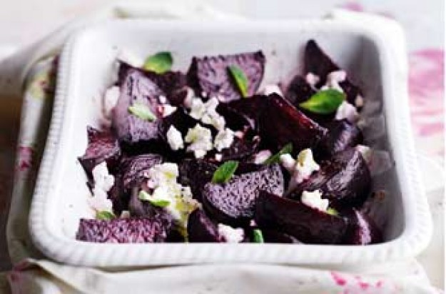 Essentials magazine, roasted minty beetroot and goats cheese salad