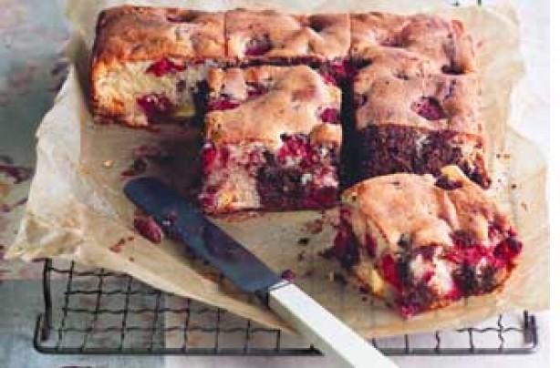 Essentials magazine, very berry chocolate tray bake
