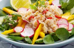 Essentials magazine, spicy crab and mango salad