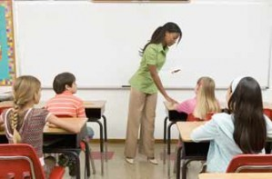 Primary school class sitting exams