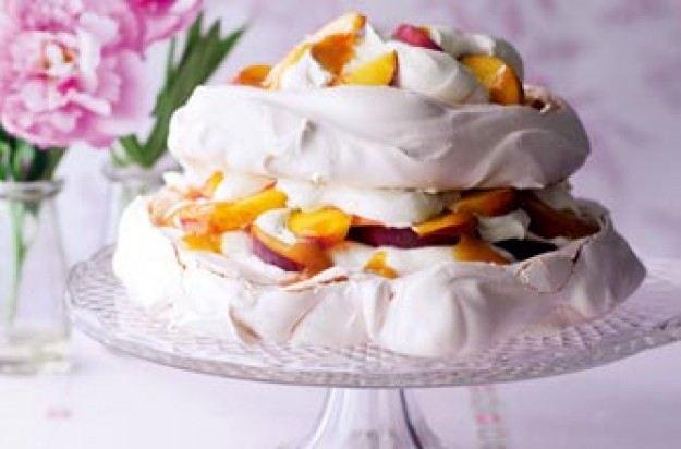 Essentials magazine, peach and passionfruit pavlova