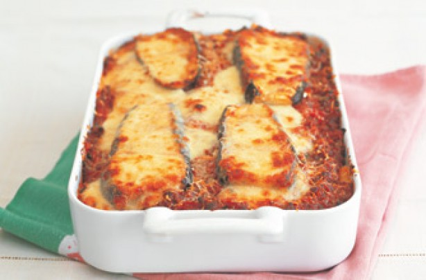 Tana Ramsays' beef and aubergine rigatoni bake with tomato and basil