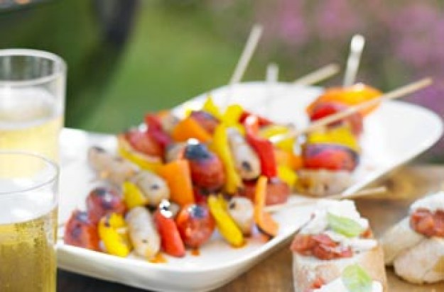 Essentials magazine, posh spicy sausage and pepper skewers