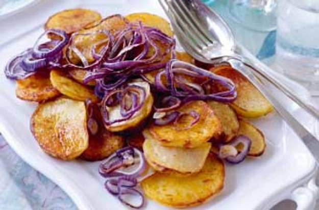 Essentials magazine, roasted onion and potato slices