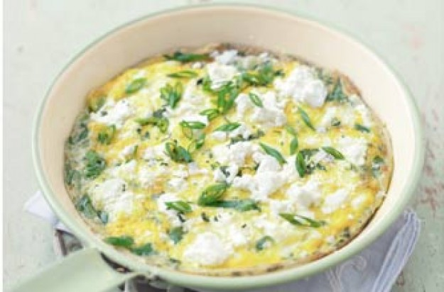 Essentials magazine, goats cheese frittata