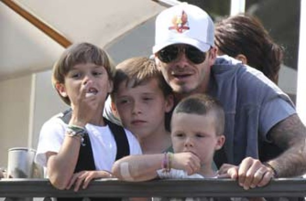 David Beckham with his sons Brooklyn, Romeo and Cruz