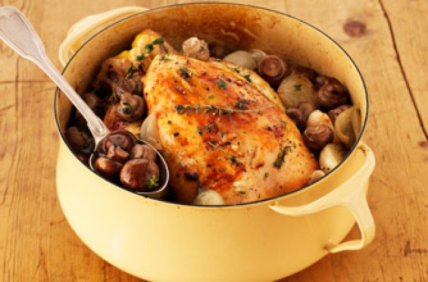 pot roast chicken with mushrooms