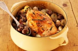 pot roast chicken with mushrooms