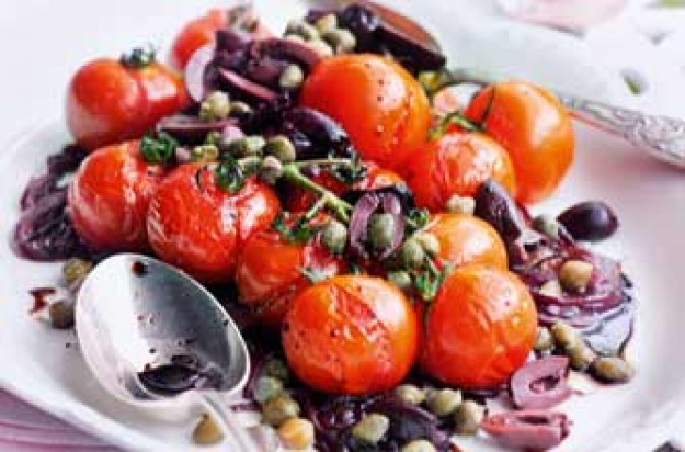 Essentials magazine, roasted balsamic tomato and olive salad