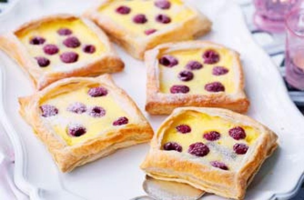 Essentials magazine, raspberry and custard tarts