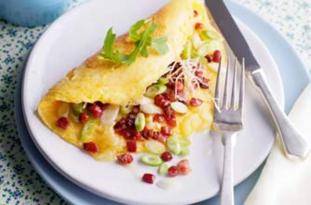 Essentials magazine, pancetta and spring onion omelette