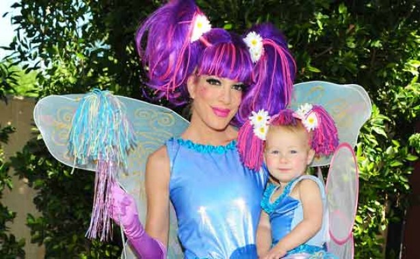 Fancy dress: Tori Spelling and her daughter Stella