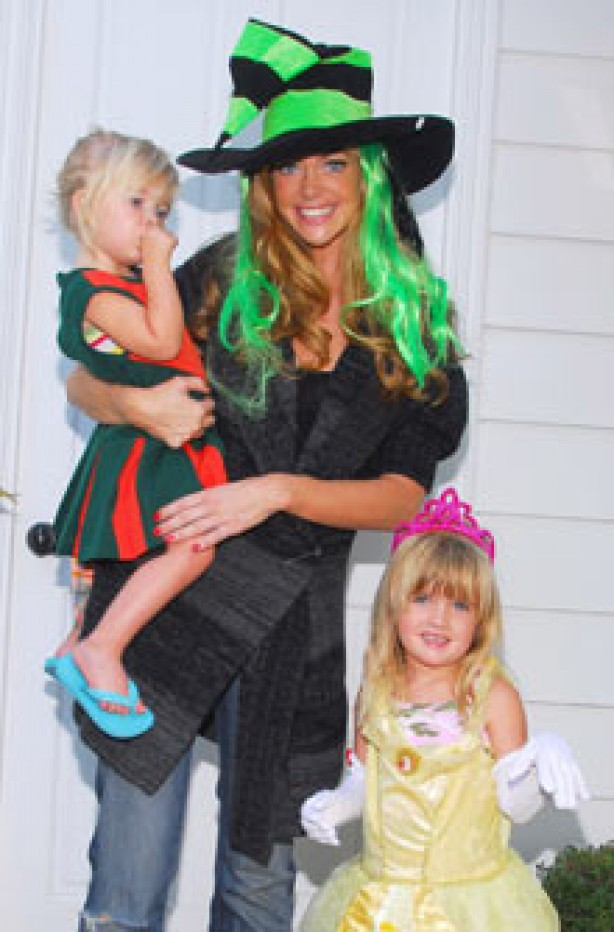 Denise Richards and daughters Sam and Lola in fancy dress