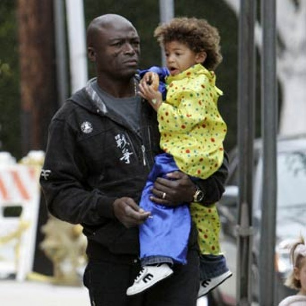 Seal and his son Henry in fancy dress