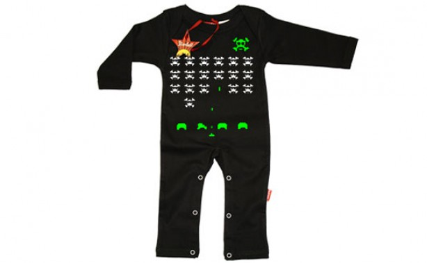 space invaders, baby clothes